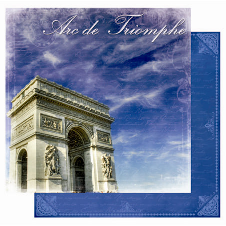 Best Creation Inc - Europe Collection - 12 x 12 Double Sided Glitter Paper - Arc de Triomphe