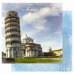 Best Creation Inc - Europe Collection - 12 x 12 Double Sided Glitter Paper - Tower of Pisa