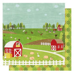Best Creation Inc - Farm Life Collection - 12 x 12 Double Sided Glitter Paper - Around the Farm