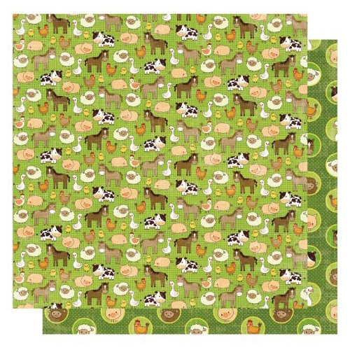 Best Creation Inc - Farm Life Collection - 12 x 12 Double Sided Glitter Paper - Farm Friends