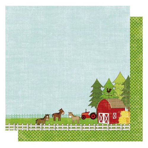 Best Creation Inc - Farm Life Collection - 12 x 12 Double Sided Glitter Paper - Red Barn