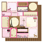 Best Creation Inc - Go Paris Collection - 12 x 12 Glittered Paper - Paris Tags