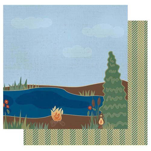Best Creation Inc - Gone Camping Collection - 12 x 12 Double Sided Glitter Paper - Lakeside Right