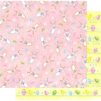 Best Creation Inc - Easter Moment Collection - 12 x 12 Double Sided Glitter Paper - Bunny Love