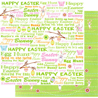 Best Creation Inc - Easter Moment Collection - 12 x 12 Double Sided Glitter Paper - Easter Words