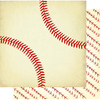 Best Creation Inc - Play Ball Collection - 12 x 12 Double Sided Glitter Paper - Baseball