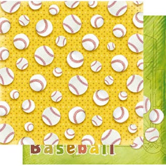 Best Creation Inc - Play Ball Collection - 12 x 12 Double Sided Glitter Paper - Home Run