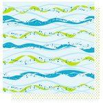 Best Creation Inc - Water Fun Collection - 12 x 12 Double Sided Glitter Paper - Water Wave Stripes