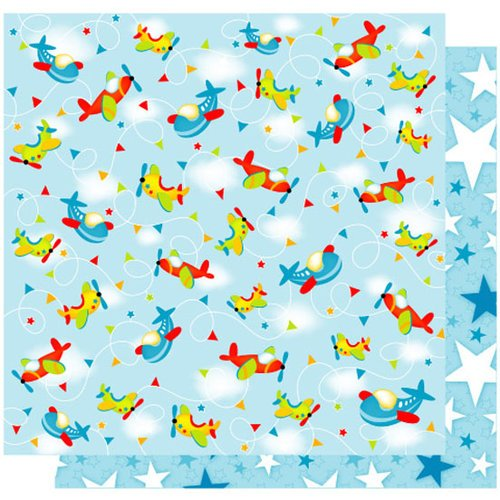 Best Creation Inc - Transportation Collection - 12 x 12 Double Sided Glitter Paper - Fly High