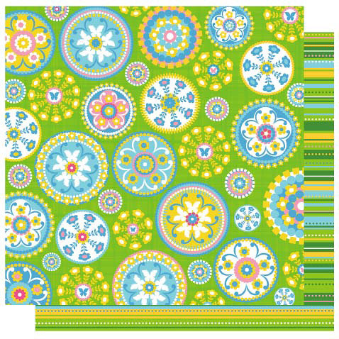 Best Creation Inc - Bella Collection - 12 x 12 Double Sided Glitter Paper - Bella Floral Patch