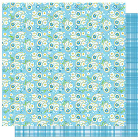 Best Creation Inc - Bella Collection - 12 x 12 Double Sided Glitter Paper - Blue Paisely