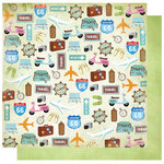 Best Creation Inc - Travel Forever Collection - 12 x 12 Double Sided Glitter Paper - Enjoy the Journey