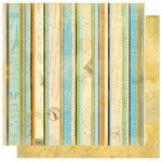 Best Creation Inc - Travel Forever Collection - 12 x 12 Double Sided Glitter Paper - Travel Stripe