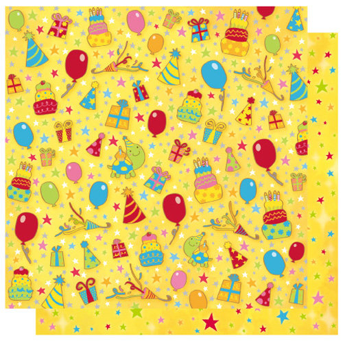 Best Creation Inc - Let's Party! Collection - 12 x 12 Double Sided Glitter Paper - Cake and Presents