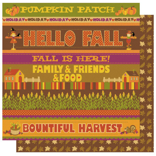 Best Creation Inc - Hello Fall Collection - 12 x 12 Double Sided Glitter Paper - Hello Fall