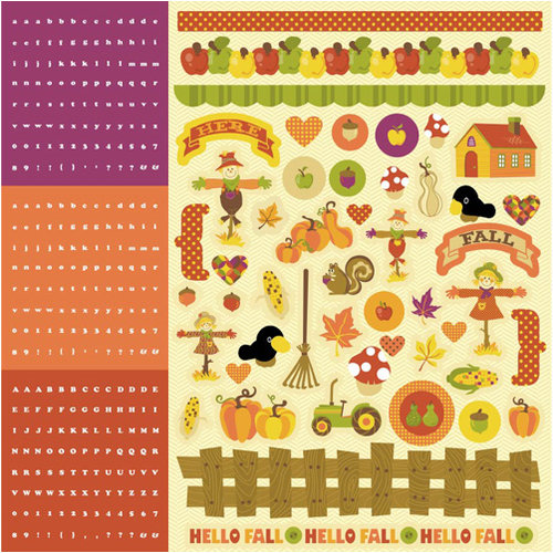 Best Creation Inc - Hello Fall Collection - Glitter Cardstock Stickers - Combo