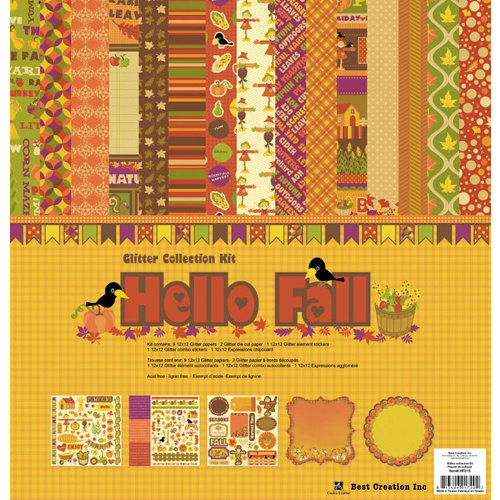 Best Creation Inc - Hello Fall Collection - 12 x 12 Glittered Collection Kit