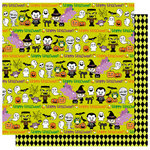 Best Creation Inc - Happy Haunting Collection - Halloween - 12 x 12 Double Sided Glitter Paper - Ghosts and Ghouls