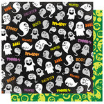 Best Creation Inc - Happy Haunting Collection - Halloween - 12 x 12 Double Sided Glitter Paper - Gim Grinning Ghosts