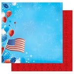 Best Creation Inc - I Love America Collection - 12 x 12 Double Sided Glitter Paper - Pledge Allegiance