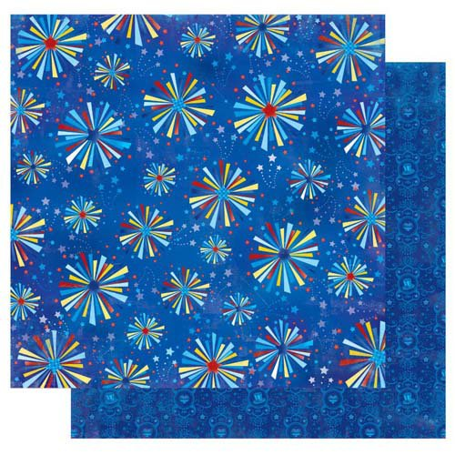 Best Creation Inc - I Love America Collection - 12 x 12 Double Sided Glitter Paper - Fireworks