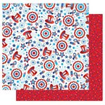 Best Creation Inc - I Love America Collection - 12 x 12 Double Sided Glitter Paper - American Confetti