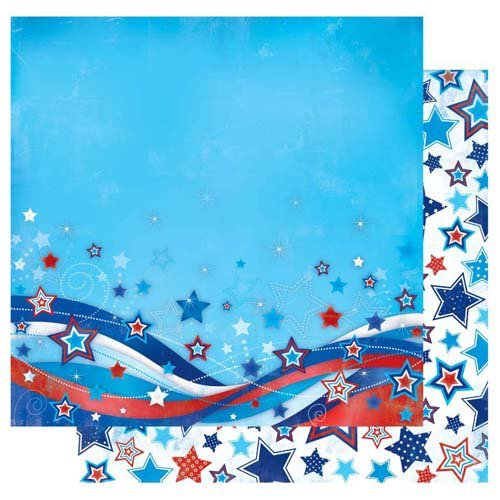 Best Creation Inc - I Love America Collection - 12 x 12 Double Sided Glitter Paper - Stars & Stripes