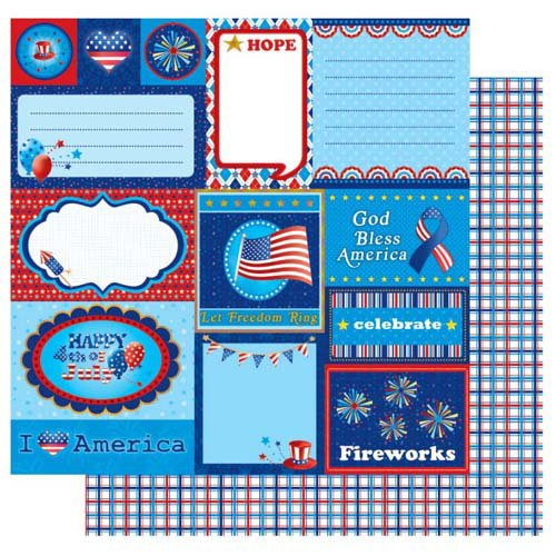 Best Creation Inc - I Love America Collection - 12 x 12 Double Sided Glitter Paper - July Tags