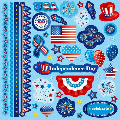 Best Creation Inc - I Love America Collection - Glitter Cardstock Stickers - Element