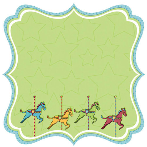Best Creation Inc - Loops and Scoops Collection - 12 x 12 Die Cut Glitter Paper - Merry-Go-Round