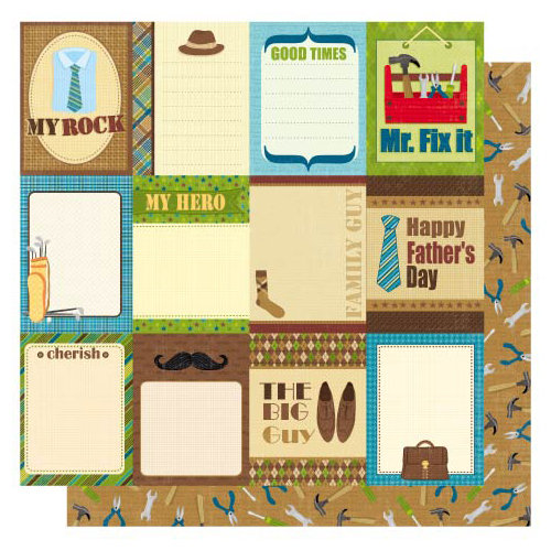Best Creation Inc - My Hero Collection - 12 x 12 Double Sided Glittered Paper - Dad's Day Journal