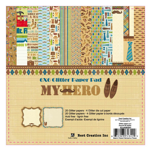 Best Creation Inc - My Hero Collection - 6 x 6 Glittered Paper Pad
