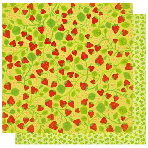 Best Creation Inc - Mom's Kitchen Collection - 12 x 12 Double Sided Glitter Paper - Strawberry Fields Forever