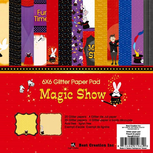 Best Creation Inc - Magic Show Collection - 6 x 6 Glittered Paper Pad