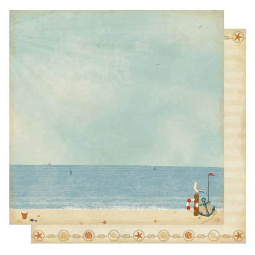 Best Creation Inc - Ocean Breeze Collection - 12 x 12 Double Sided Glitter Paper - Ocean Breeze Right