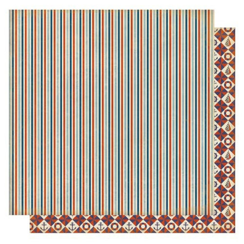 Best Creation Inc - Ocean Breeze Collection - 12 x 12 Double Sided Glitter Paper - Nautical Stripe