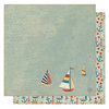 Best Creation Inc - Ocean Breeze Collection - 12 x 12 Double Sided Glitter Paper - Nautical Sailor