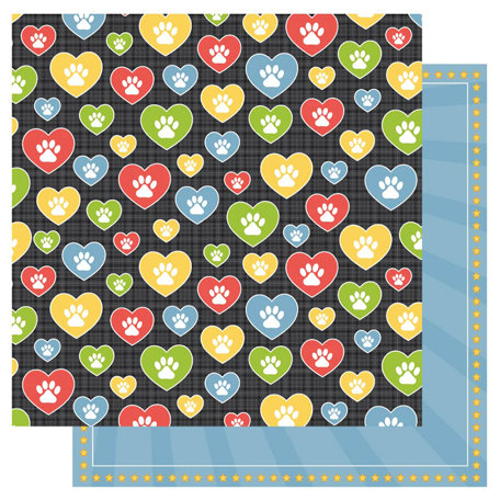 Best Creation Inc - Puppy Love Collection - 12 x 12 Double Sided Glitter Paper - Puppy Love