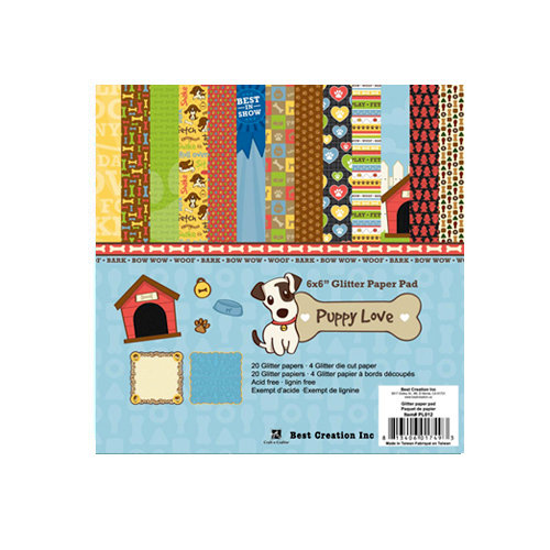 Best Creation Inc - Puppy Love Collection - 6 x 6 Glittered Paper Pad