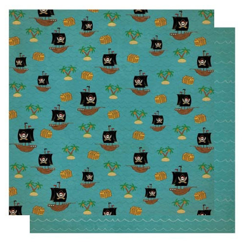 Best Creation Inc - Pirates Collection - 12 x 12 Double Sided Glitter Paper - Sail Ho!