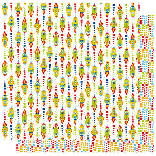 Best Creation Inc - Robot Collection - 12 x 12 Double Sided Glitter Paper - Space Station