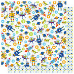 Best Creation Inc - Robot Collection - 12 x 12 Double Sided Glitter Paper - Rockets and Robots