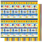 Best Creation Inc - Robot Collection - 12 x 12 Double Sided Glitter Paper - Space Stripes