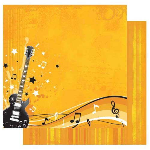Best Creation Inc - Rock Star Collection - 12 x 12 Double Sided Glitter Paper - Guitar Hero