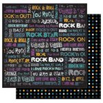 Best Creation Inc - Rock Star Collection - 12 x 12 Double Sided Glitter Paper - I Love Rock N Roll