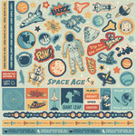 Best Creation Inc - Space Age Collection - Glitter Cardstock Stickers - Element