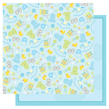 Best Creation Inc - Sweet Baby Collection - 12 x 12 Double Sided Glitter Paper - It's a Boy