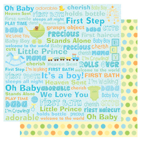 Best Creation Inc - Sweet Baby Collection - 12 x 12 Double Sided Glitter Paper - Baby Boy Words