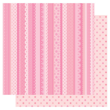 Best Creation Inc - Sweet Baby Collection - 12 x 12 Double Sided Glitter Paper - Lovely Stripes
