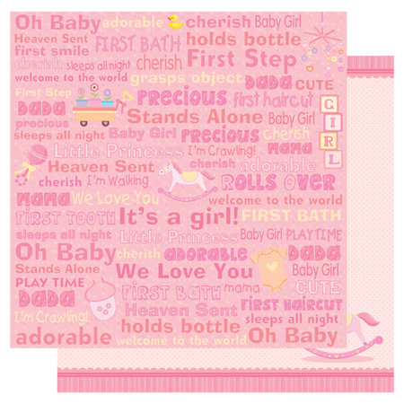 Best Creation Inc - Sweet Baby Collection - 12 x 12 Double Sided Glitter Paper - Baby Girl Words